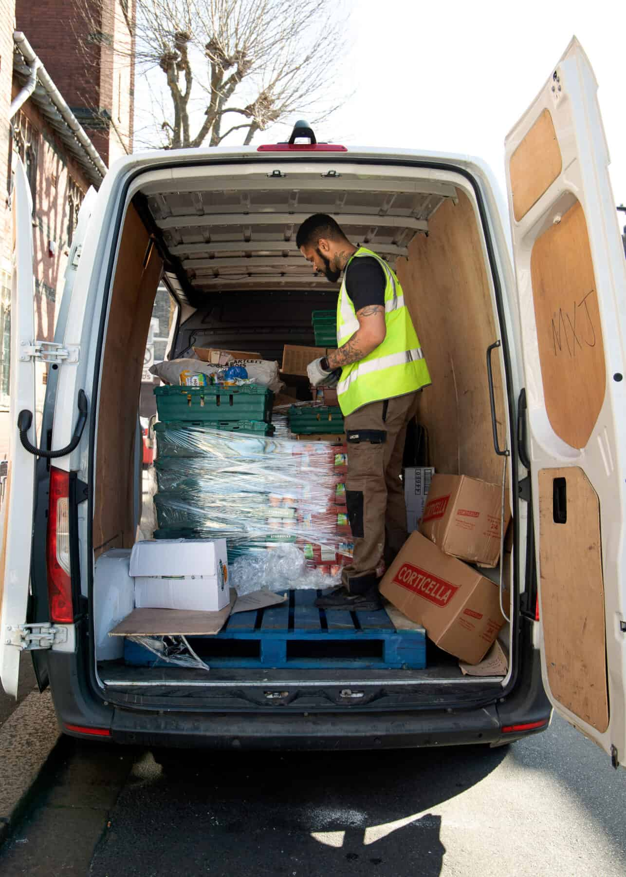 One of our donors kindly delivering food for our food bank.